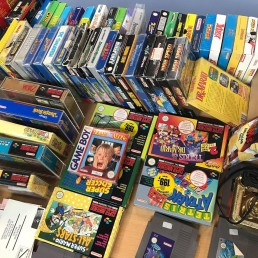 Retro video game market in Hadsten, Denmark